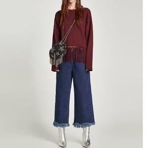 NWT Zara Fringed Sweatshirt / women size S & M